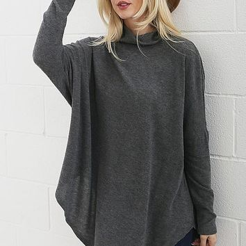 Soft Fleece Poncho - Charcoal