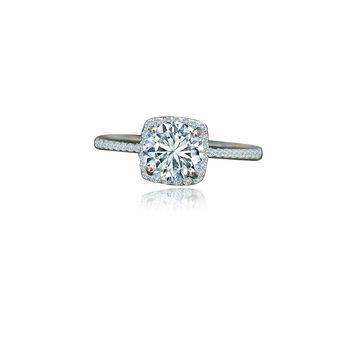 1 CT. Intensely Radiant Round Center Diamond Veneer Set in Sterling Silver w/platinum Electroplate Halo Ring. 635R202