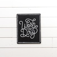 """Wash & Dry"" Wooden Sign"