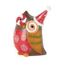 Candy Cane Eye Owl Christmas Decor