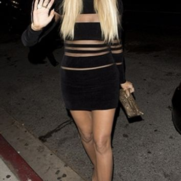 Photo Ready Black Sheer Mesh Long Sleeve Horizontal Cut Out Stripe Bodycon Mini Dress - Inspired by Khloe Kardashian