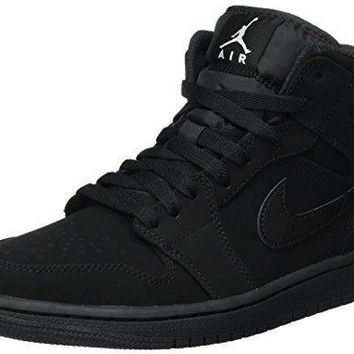 Nike Men's Air Jordan 1 Retro Mid Basketball Shoe Black/White-Black