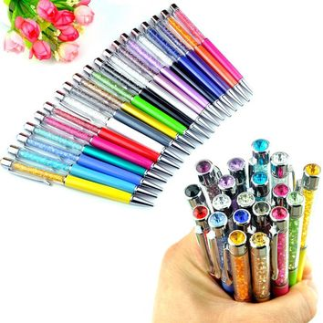 20 pcs/lot Metal Roller Crystal Ballpoint Pen with Top bling Diamond Clip Office School gift Lovers Logo Signature 20 Colors