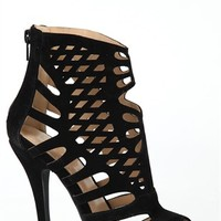 High Heel Bootie with All over Cutouts