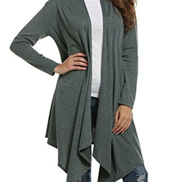 Sherosa Women Loose Draped Open Front Mid-long Lightweight Spring Cardigan Sweater