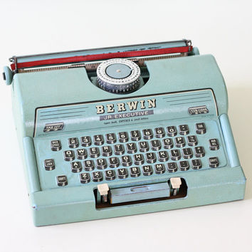 Vintage Aqua Typewriter - Berwin Jr Executive Tin Toy Typewriter