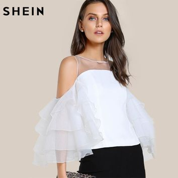 SHEIN Contrast Mesh Cut Out Layered Ruffle Sleeve Top White Three Quarter Length Sleeve Zipper Back Slim Womens Tops and Blouses