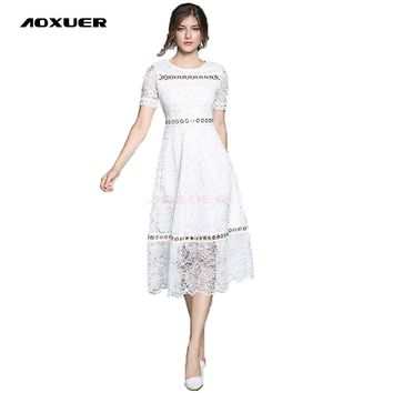 Women New Lace Long Dress O Neck Short Sleeves Slim Patchwork Metal Buckle Fashion Work
