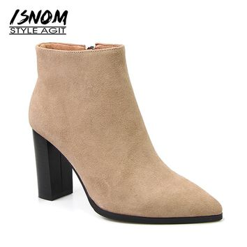 High Quality Suede Leather Winter Boots 2017 New Arrival Pointed Toe Ankle Boots Super High Square Heel Women Shoes Female