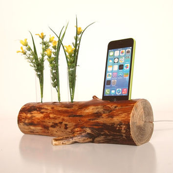 iPhone Dock plus Vase  - charging station - docking station - Decorative Bud Vase - for iPhone 4, iPhone 5, iPod touch...