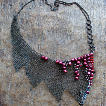 BLOODY MARY Copper Wire Crocheted Bib Bordeaux Pearls Notched Necklace /Large Unique Statement Gothic Unusual DramaticNecklace.Made to order