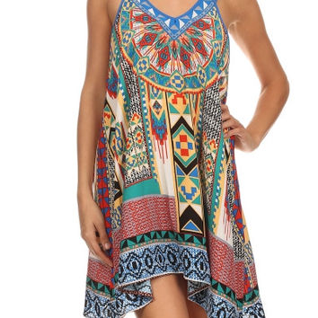 Eliza Bella for Flying Tomato Boho Print Low Back Tank Dress SML