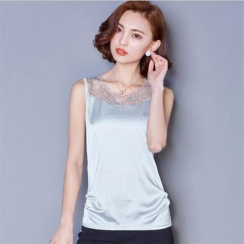 Plus Size M-3XL Luxury Lace Silk Tank Top For Women Summer Sexy O-neck Lace Tops Women's Lace Imitation silk Vest Tops