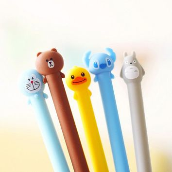 A08 Cute Soft Silicone Cartoon Totoro Fruit Grip Gel Pen Writing Signing Pen Student Stationery School Office Supply Gift Prize