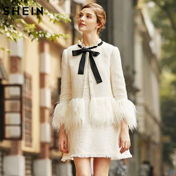 White Faux Fur Trim Tweed Blazer New Winter Blazer for Woman Collarless Single Breasted Elegant Blazer