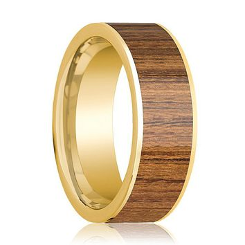 Mens Wedding Band Polished 14k Yellow Gold Wedding Ring with Teak Wood Inlay - 8mm