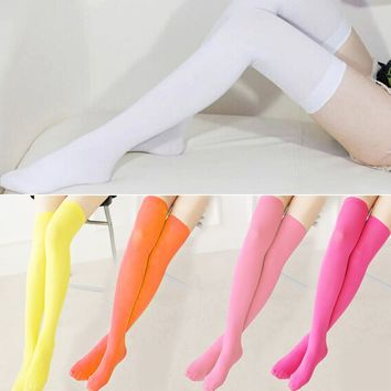 New Fashion Women Girls Candy Stockings Cable Knit Extra Long Stockings Over Knee Thigh High School Girl Solid Stocking