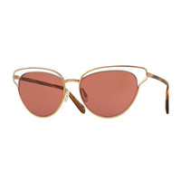 Josa Monochromatic Cat-Eye Sunglasses, Rose Gold