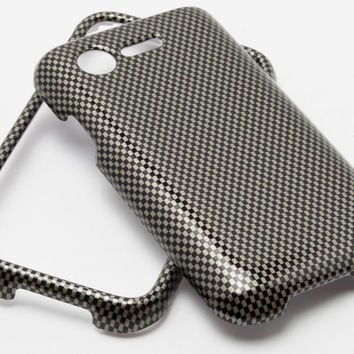 LG Optimus Fuel L34C, Black and Silver Checkered Print Design Phone Case