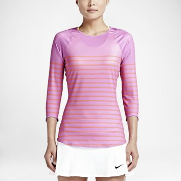 Nike Printed Baseline 3/4-Sleeve Women's Tennis Top Size XS (Purple)