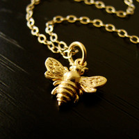 Bumble Bee Necklace 24k Gold Vermeil Yoga Birthday Bridesmaid - Vivian Feiler Designs | Wedding