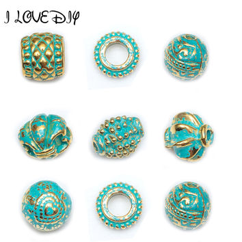 50 100 Pcs lot Metal Vintage Green and Gold Tube Bead Tibetan Silver Spacer Beads for Bracelet Jewelry Making 8.5mm-12mm