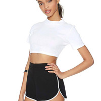 Black Elastic Waist Edge Running Short