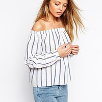 ASOS Long Sleeve Off The Shoulder Top In Stripe at asos.com