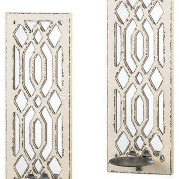 Iron Deco Mirror Wall Sconce -Set of 2