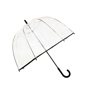 SMATI Stick Manual Clear STARS Umbrella - Birdcage Dome See Through (Mom and Kid) Transparent