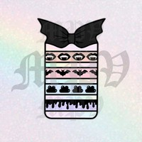 Bats & Bones Washi Card *Black* - DIGITAL DIE CUT for Planners and Stationery