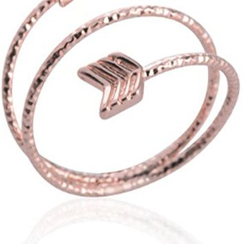 Multilayer Arrow Opening Adjustable Wire Rings for Women and Girls