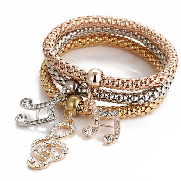 Awesome Great Deal Hot Sale Gift New Arrival Shiny Stylish Simple Design Hollow Out 3-color Music Rhinestone Crystal Stretch Bracelet [7984420102]