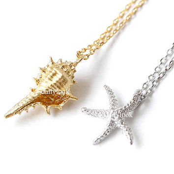 trumpet shell necklace, starfish necklace, trumpet shell, starfish, star necklace, shell necklace, woman necklace, summer necklace, cool