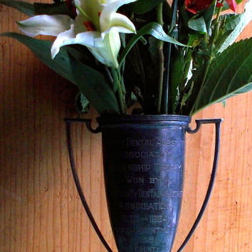 Antique Loving Cup Trophy Award - Engraved 1933 - 1947, Silver Plate - New Jersey Dental Assistants Association - Rustic Cottage Decor