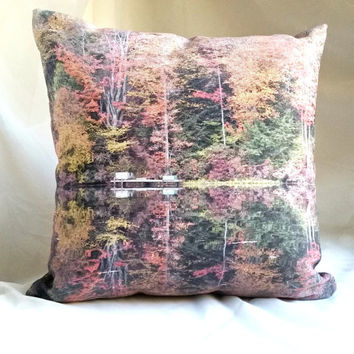 Perfect Reflection Throw Pillow, Green Pink Yellow Pillow Cover and Insert,Cottage Chic Home Accent Pillow