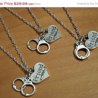 ON SALE 3 best friends necklaces,3 Partners in crime Necklaces, 3 handcuff charms necklaces, silver necklaces, friendship Gift