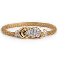 Fashion CZ Crystal Clasp bracelets& bangles for women gold Color stainless steel luxury bangles for women jewelry