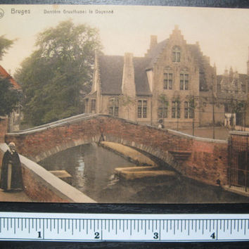 1900 Vintage Belgium Color Post Card of Brigde  in the City of Burges