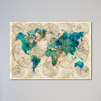 World Map Watercolor Poster Old World Map Wall Art Decor Fine Art Giclee Print Gift Home Decor Wall Hanging