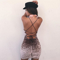 Butterfly Velvet Spaghetti Strap Backless Summer One Piece Dress [11097972687]