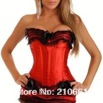 Sexy plastic boned Lace up back Corset Bustier + Mini Skirt A068 red S-6XL