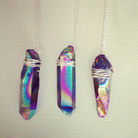 Titanium quartz/rainbow quartz necklace