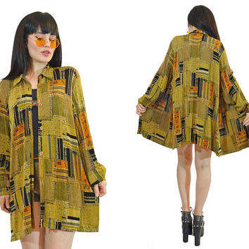 vintage 90s SLINKY grunge duster jacket oversized shirt minimalist ethnic print soft grunge 1990s overshirt top menswear ultra draped