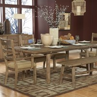 7 pc Oxenbury collection southern country style weathered driftwood finish wood dining table set