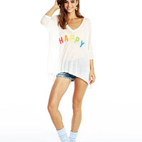 Happy Print Half Sleeve V-Neck Loose Graphic Tee