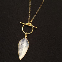 Moonstone Spike Necklace- 14k Gold