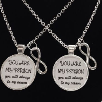 2 Necklaces Infinity You Are My Person Will Always Be Quote Best Friend Couple's