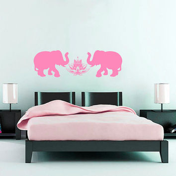 Wall Decals  Animals Elephant Indian Elephants Lotus Buddha Yoga Ganesh Vinyl Decal Sticker Home Decor Bedroom Living Room Nursery ML143