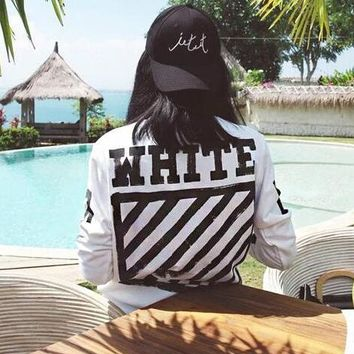 OFF WHITE Classic Fashionable Women Men Casual Print Long Sleeve Round Collar Velvet Pure Cotton Sweater Top Sweatshirt White
